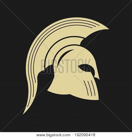 icon spartan helmet silhouette greek warrior gladiator legionnaire heroic soldier fully editable image