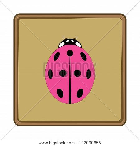 Ladybird isolated. Illustration ladybug in green frame. Cute colorful sign pink insect symbol spring summer garden. Template for t shirt apparel card poster. Design element. Vector illustration