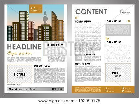Vector flyer corporate business annual report brochure design and cover presentation with yellow rectangle