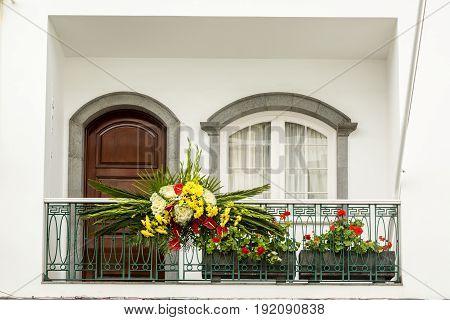 Decorated Balcony In Ribeira Grande On Sao Miguel Island, Azores