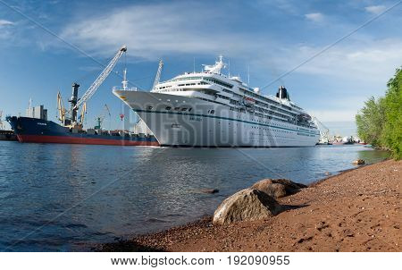 The Cruise Vessel Amadea Floats On The Sea Channel In St. Petersburg