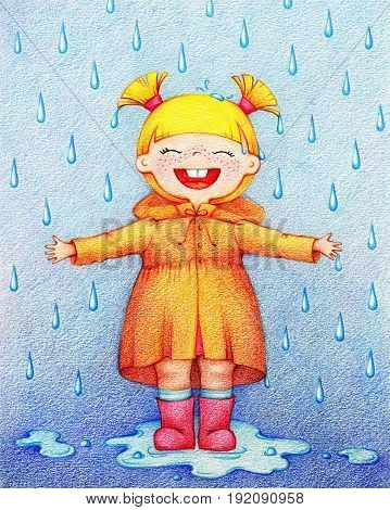 hands drawn picture of little happy girl in yellow raincoat and red rubber knee boots in rainy day by the color pencils
