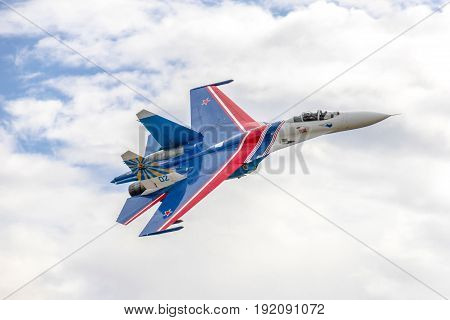 Kubinka, Russia - September 7, 2016: Su-27 aerobatic group