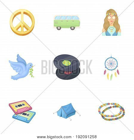 A cannabis leaf, a dove, jeans, a backpack.Hippy set collection icons in cartoon style vector symbol stock illustration.