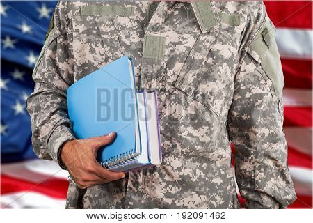 Young man military soldier background portrait caucasian
