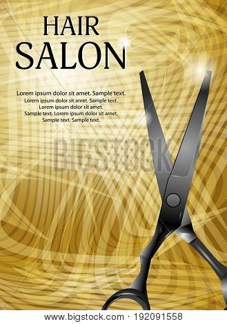 Golden vertical background with professional scissors for advertising a hair salon. Vector illustration.