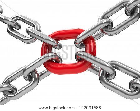 Chains with red link - team cooperation concept three-dimensional rendering 3D illustration