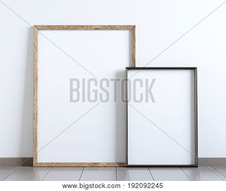 Mockup of two blank frame posters on the floor, 3D rendering