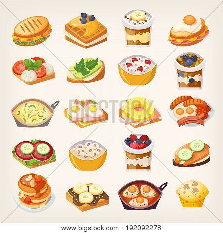Set of colorful meals and dishes ideas for healthy breakfast or lunch. Tasty everyday morning food
