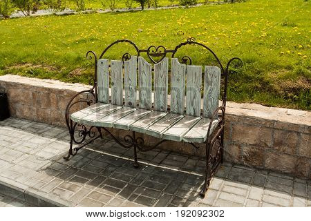 Beautiful Forged Bench On Embankment Of River Moscow In Sunny Day In Kolomna Moscow Region.