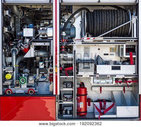 BERLIN GERMANY - JUNE 03 2016: The fire equipment of MAN Ziegler Z6 (Airport crash tender). Exhibition ILA Berlin Air Show 2016