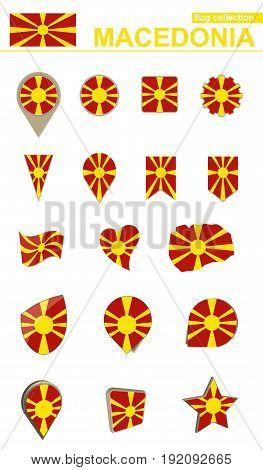 Macedonia Flag Collection. Big Set For Design.