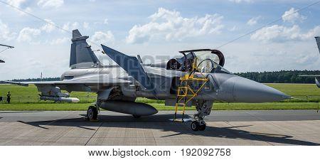 BERLIN GERMANY - JUNE 03 2016: Fighter attack and reconnaissance aircraft Saab JAS-39 Gripen. Czech Air Force. Exhibition ILA Berlin Air Show 2016