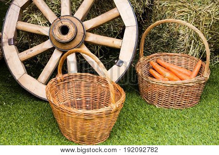 The village concept. Baskets with carrots and a cart from a cart near the hay