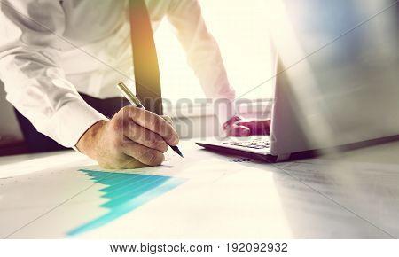 Business man laptop work money view financial
