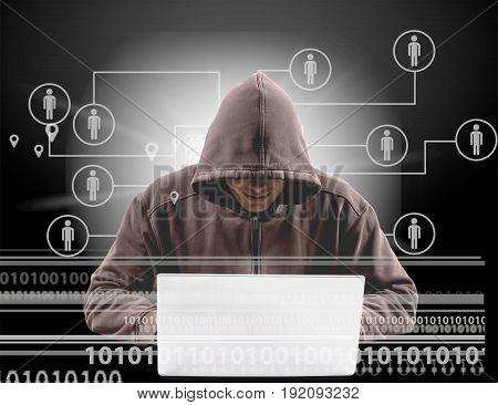 Laptop using cyber hacker hack image computer