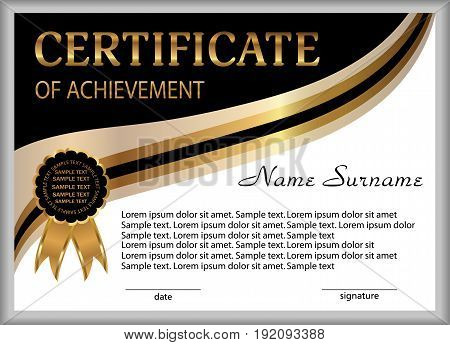 Certificate of achievement diploma. Reward. Winning the competition. Award winner. Gold white and black decorative elements. Vector illustration.