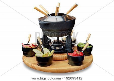 Fruit fondue on a plate on a white background isolation