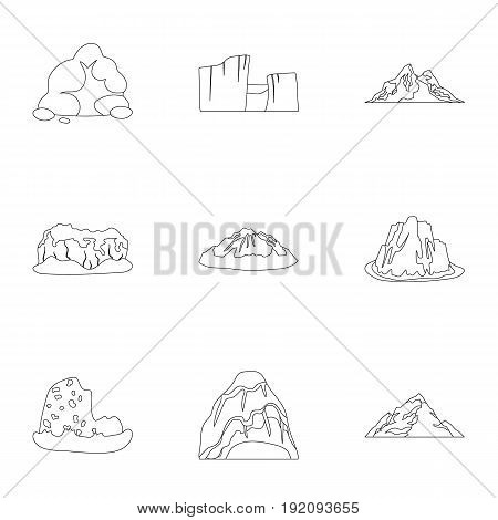 Set of icons about different mountains. Winter, summer mountains in one collection.Different mountains icon in set collection on outline style vector symbol stock web illustration.