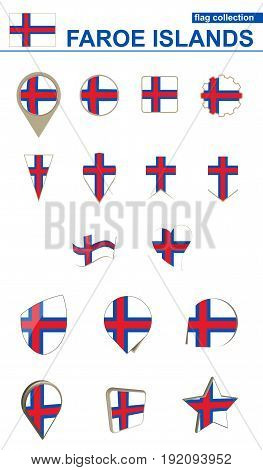 Faroe Islands Flag Collection. Big Set For Design.
