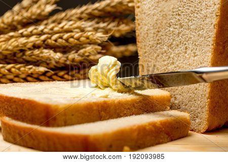 Bread slices butter background fresh detail texture
