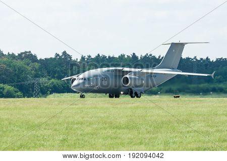 BERLIN GERMANY - JUNE 03 2016: Preparing for takeoff military transport aircraft Antonov An-178. Exhibition ILA Berlin Air Show 2016