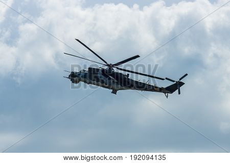 BERLIN GERMANY - JUNE 03 2016: Attack helicopter Mil Mi-24 Hind. Czech Air Force. Exhibition ILA Berlin Air Show 2016