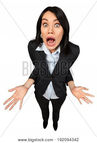 Business expression woman standing businesswoman facial expression white
