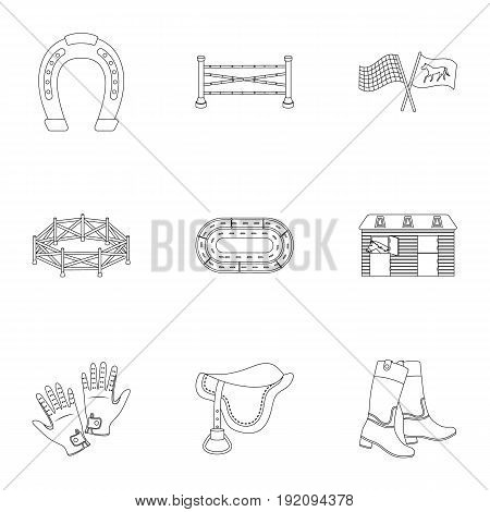 Races on horseback, hippodrome. Horse racing and equipping riders.Hippodrome and horse icon in set collection on outline style vector symbol stock web illustration.