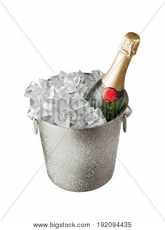 Bucket bottle champagne white background nobody crystal