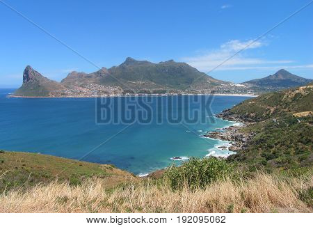 VIEW OF HOUTBAY FROM LOOKOUT POINT ON CHAPMANS PEAK IN CAPE TOWN, SOUTH AFRICA