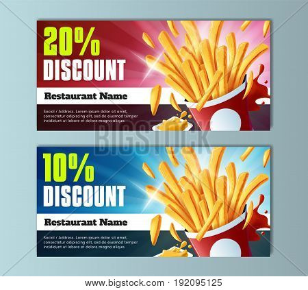 Fries Discount Voucher Template - well-organized and fully editable vector file EPS10
