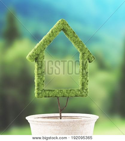 Green house made with green grass, 3d render illustration