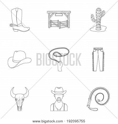 A set of pictures about cowboys. Cowboys on the ranch, horses, weapons, whips.Rodeo icon in set collection on outline style vector symbol stock web illustration.