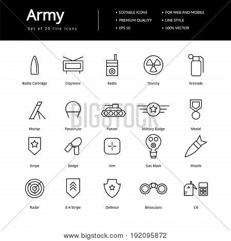 Simple army line icon. Icons for military or specials team.