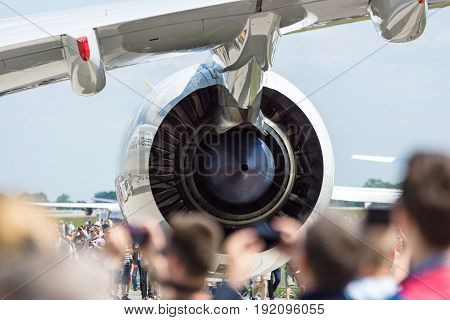 BERLIN GERMANY - JUNE 03 2016: Turbofan engine of the newest airplane Airbus A350-900 XWB. Exhibition ILA Berlin Air Show 2016