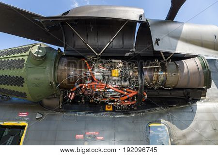 BERLIN GERMANY - JUNE 03 2016: Engine of the heavy-lift cargo helicopter Sikorsky CH-53 Sea Stallion. Exhibition ILA Berlin Air Show 2016