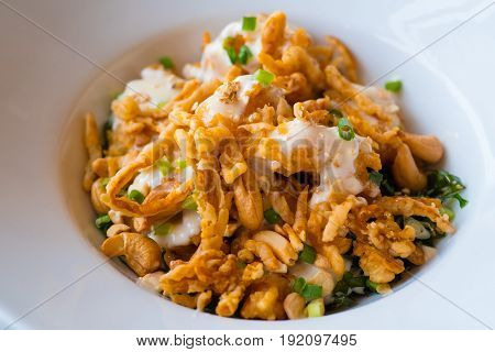 Deep fried shrimp with cashew nut and mayonnaise delicious dish for children