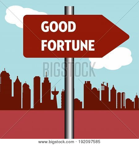 Abstract colorful illustration with a red signpost with the text good fortune