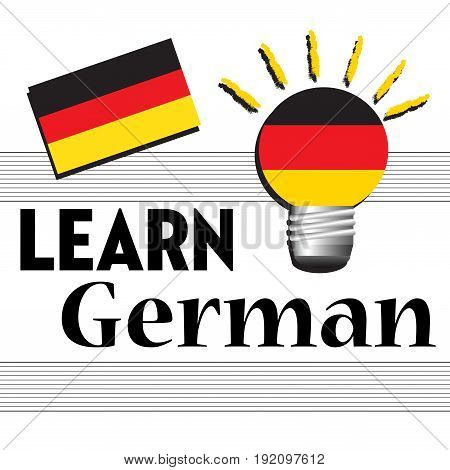 Colorful background with the German flag and the text learn German written with black letters
