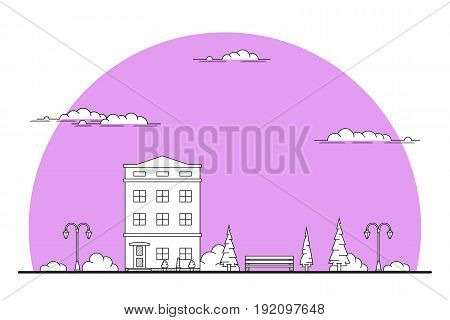 Illustration of a city landscape with townhouse, trees, streetlight. bench and clouds. Flat line art style. Housing, real estate market, architecture design, property investment concept banner.