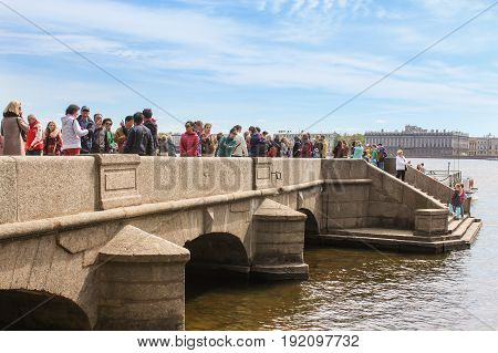 St. Petersburg Russia - 28 May, Tourists on the Commandant's Wharf, 28 May, 2017. Famous sightseeing places of St. Petersburg for tourists.