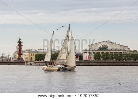 St. Petersburg Russia - 28 May, Yacht at the point of the Vasilievsky Island, 28 May, 2017. Famous sightseeing places of St. Petersburg for tourists.