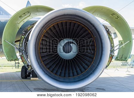 BERLIN GERMANY - JUNE 03 2016: Turbofan engine General Electric CF6-80C2 of medical aircraft Airbus A310-304 MRTT MedEvac