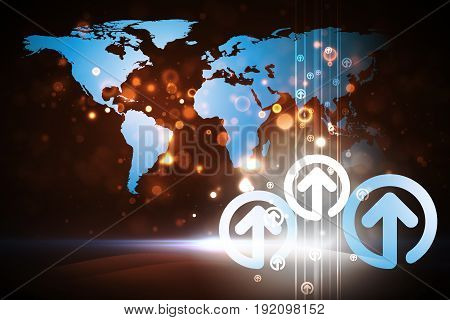 Business Concept Background : Many blue arrow up with world map background.