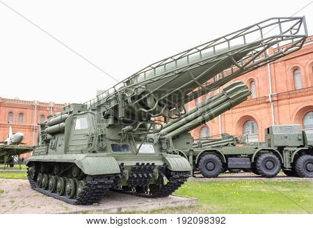 St. Petersburg Russia - 28 May, Launcher with rocket of the Elbrus missile complex, 28 May, 2017. Military History Museum of combat equipment in St. Petersburg.