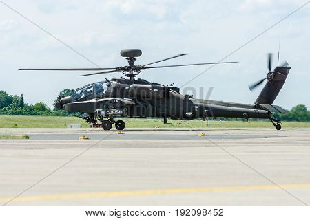 BERLIN GERMANY - JUNE 03 2016: Attack helicopter Airbus Eurocopter Tiger. Exhibition ILA Berlin Air Show 2016
