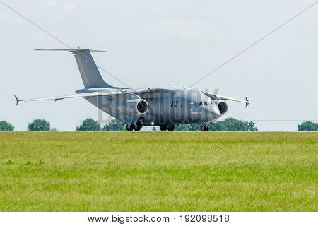 BERLIN GERMANY - JUNE 03 2016: Preparing for takeoff military transport aircraft Antonov An-178. Exhibition ILA Berlin Air Show 2016