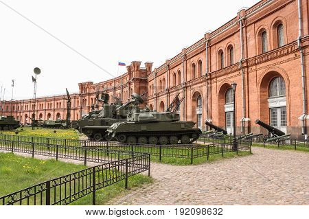 St. Petersburg Russia - 28 May, Exposition of military armored vehicles, 28 May, 2017. Military History Museum of combat equipment in St. Petersburg.