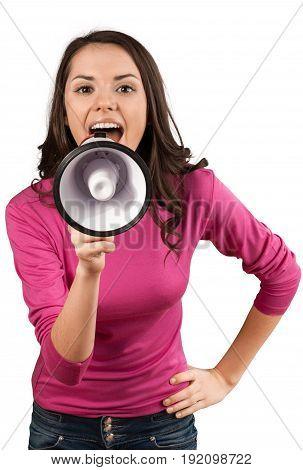 Beautiful woman shouting shout megaphone white background